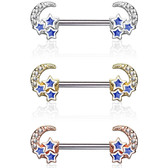 PAIR - Crescent Moon & Stars Steel Nipple Barbells