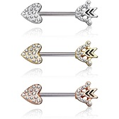 PAIR - CZ Paved Heart & Arrow Steel Nipple Barbells