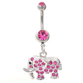 Magnificent Gem Paved Pink Elephant Belly Ring