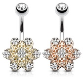 Two-Tone Flower Steel Belly Ring