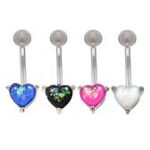 Opalescent Glitter Heart Steel Belly Ring