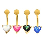 Opalescent Glitter Heart Goldtone Belly Ring