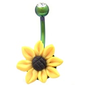 Sunflower Green Barbell Steel Belly Ring
