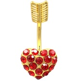 Red Heart & Arrow Goldtone Steel Belly Ring