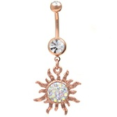 Rose Goldtone Tribal Sun Dangle Belly Ring