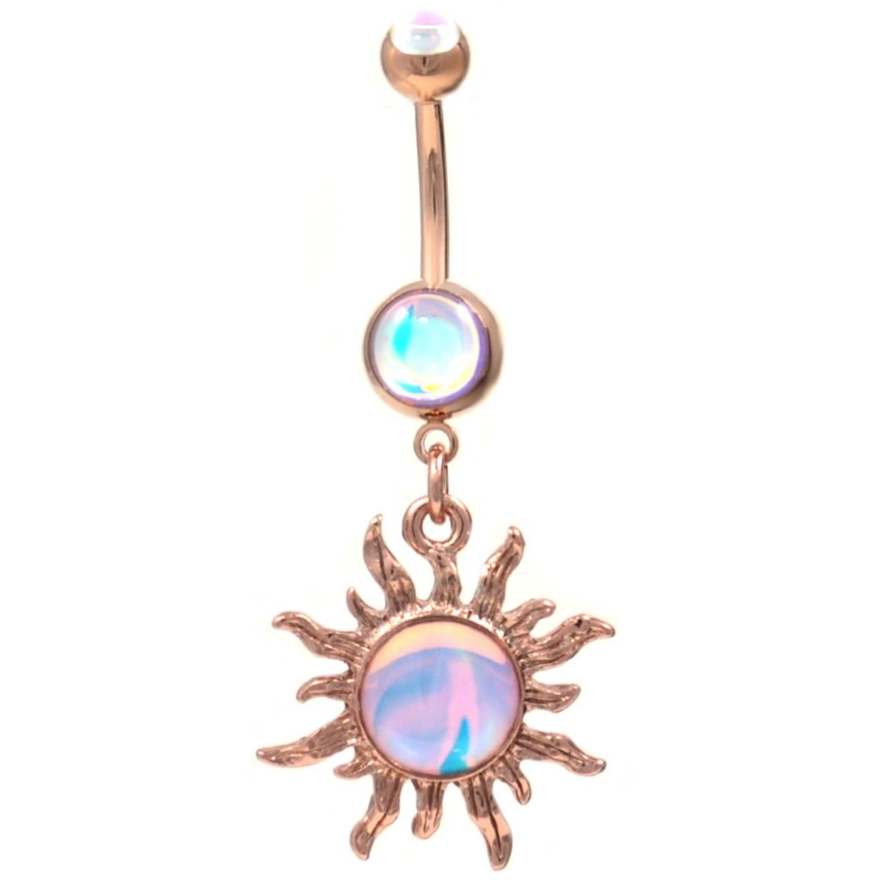 Rose Goldtone Iridescent Tribal Sun Dangle Belly Ring