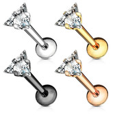 Triangle CZ Top Steel Labret Monroe Bar 16G