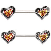 PAIR - Fiery Hearts Steel Nipple Ring Barbells
