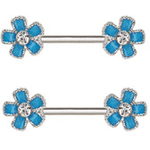 PAIR - Light Blue Flowers Steel Nipple Ring Barbells
