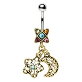 Moon/Star Combo Dangle Belly Ring