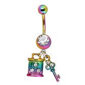 Rainbow Lock & Key Dangle Belly Ring