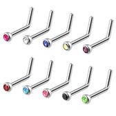 10-Piece Value Pack Press Fit CZ Top L-Shaped Nose Rings