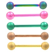 Sandblast Finish Balls PVD Steel Tongue Ring 14g 5/8""
