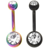 2-Pack Set Black & Rainbow Double Jeweled Belly Rings