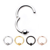 4PC Lot 3mm Ball Hinged Segment Ring Hoops 16G