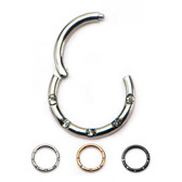 3PC Lot 5-Gem Hinged Segment Ring Hoops 16G