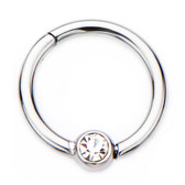 Clear Gem Ball Hinged Segment Ring Hoop 16G