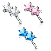 Double Star CZ Nose Ring Bone Stud 20G
