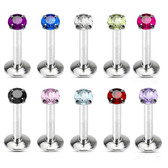 10-Piece Value Pack Round CZ Top Labret Monroe Studs