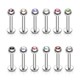 12-Piece Value Pack Press-Fit CZ Top Labret Monroe Studs