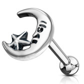 Star & Moon Cartilage Tragus Stud 16G 1/4""