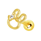 Ribbon Bunny Goldtone Cartilage Tragus Stud 16G