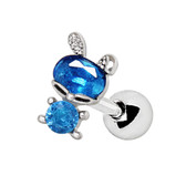 Double Accent Dark Blue Bunny Cartilage Tragus Stud