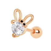 CZ Center Bunny Ears Rose Goldtone Cartilage Stud