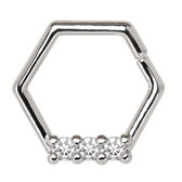 Triple CZ Hexagon Bendable Hoop Cartilage Piercing 16G