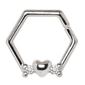 Heart Bottom Hexagon Bendable Cartilage Piercing