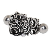 Black Roses Cartilage Piercing Cuff 16G