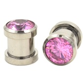 Pink Cubic Zirconia Gem Steel Ear Plugs (8g-00g)