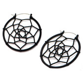 Black Matte Steel Woven Web Plug Hoop Earrings