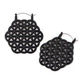 Black IP Steel Flower of Life Plug Hoop Earrings