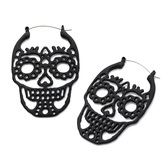 Black Matte Steel Sugar Skull Plug Hoop Earrings