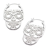 Silvertone Steel Sugar Skull Plug Hoop Earrings
