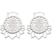 Steel Mandala Lotus Flower Plug Hoop Earrings