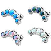 Synthetic Opal Five-Stone Curve Cartilage Helix Stud