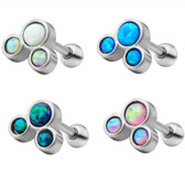 Synthetic Opal Three-Stone Cartilage Helix Stud 18G