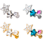 Double Star Sparkle Steel Cartilage Helix Stud 18G
