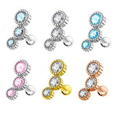 6-Color Set Triple CZ Ridged Steel Cartilage Stud Barbells
