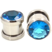 Aqua Cubic Zirconia Gem Steel Ear Plugs (8g-00g)