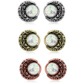Opalescent Filigree Moon Steel/Brass Stud Earrings