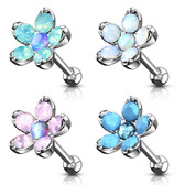 5-Petal Opalite Flower Steel Cartilage Stud 16G 1/4""