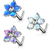 Opalescent Resin 5-Petal Flower  L Shaped Nose Ring