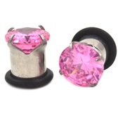 Prong Set Pink CZ Gem Single Flared Plugs (10g-00g)