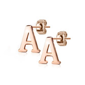 Initial Letter Rose Goldtone Stud Earrings (A-Z Available)