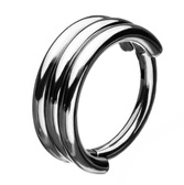Triple Stack Steel Hinged Segment Ring Hoop 18G-16G