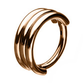 Triple Stack Rose Goldtone Hinged Segment Ring  Hoop