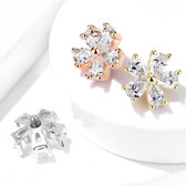 Pear CZ Gemmed Flower Steel Dermal Anchor Top
